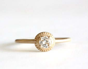 14k gold moissanite engagement ring, eco friendly, handmade, milgrain texture, alternative diamond, recycled wedding ring
