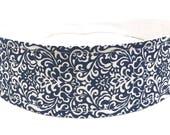 Blue Headband for Women, Adult Headband, Womens Headband - Navy Blue & White Flourish, Scroll Headband - NAVY BLUE FLOURISH