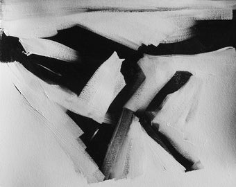 Numero 382, Black and White Abstract Art, acrylic, on paper, 16x20, abstract expressionist, wall art, modern art, gestural