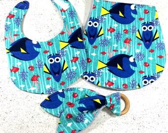 Finding Dory baby bib - baby shower gift - infant - burp cloth - wooden teething ring - disney - handmade - flannel - fish - ocean