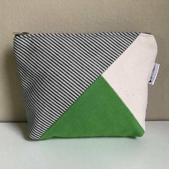 Canvas Zipper Pouch, Makeup Bag, Green Makeup Case, Cosmetic Case, Canvas Pouch, Womens Toiletry Bag