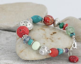Turquoise Coral Gemstones HILL TRIBE Silver Sterling Silver Bracelet // handcrafted jewelry // luluglitterbug