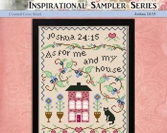 Counted Cross Stitch Pattern Inspirational Sampler Series Joshua 24:15