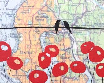 Seattle / 8 x 8 Map Painting / Washington Art / Modern Poppy / Map Art / Bird Art / Modern Decor / Rachel Austin Art / Modern Nursery