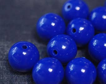 18mm Large Smooth Opaque Acrylic Round Ball Beads - Sapphire Blue - 24pcs
