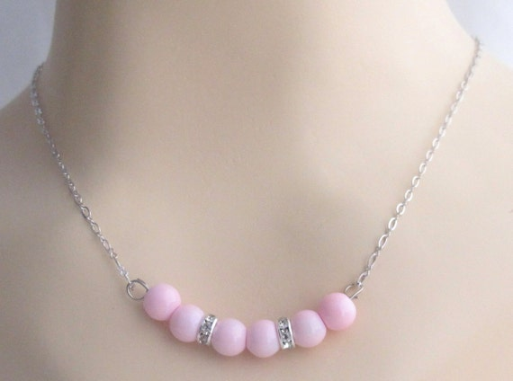 Soft Pink Pearl Necklace,Soft Pink Wedding Necklace, Floating 7 Pearl Necklace,Soft Pink beads jewlery, Spring Jewelry, Free Shipping In USA