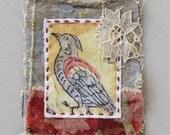 Mini art quilt, vintage bird, hand stitched, OOAK