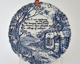 English Cottage Scene Motto Plate - Royal Staffordshire Blue White China Motto Wall Decor Plate