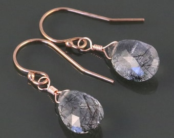 Rutilated Quartz Earrings. Rose Gold Filled Ear Wires. Genuine Gemstone. s17e007