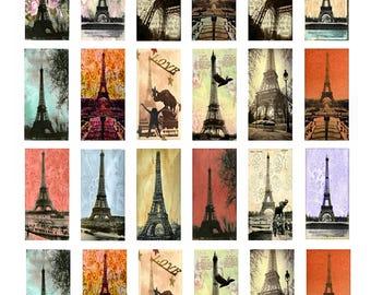 Eiffel Tower Paris - 1x2 Inch - Digital Collage Sheet - Instant Download