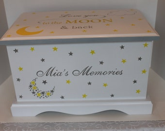 Love you to the moon & back - Baby Keepsake Chest Memory Box personalized baby gift Christmas gift hand painted