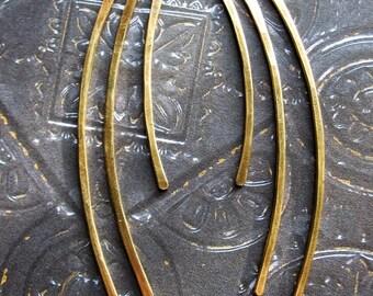 Hammered Antiqued Brass Blades - 6 pieces - 1.5 to 3 inch - 16 gauge Bars