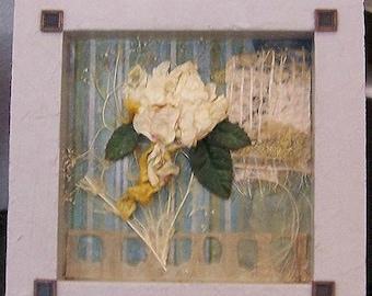 Encaustic art, wax art, beeswax collage, pressed flower,  dried flower art, mixed media art, dimensional art