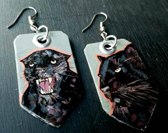 Gray and Hot Pink black panther - hand-painted big cat charm earrings