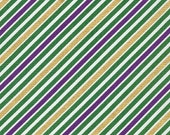 ON SALE - 10% Off Robert Kaufman Remix Diagonal Stripe Mardi Gras Metallic Quilting Apparel Fabric BTY