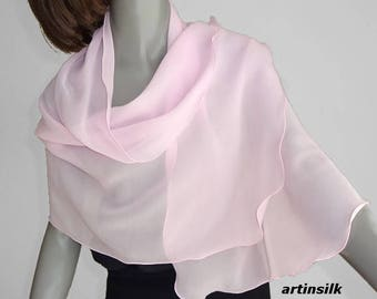 Light Pink Sheer Scarf, True Cool Pink Pure Mulberry Silk Chiffon, Petite Shawl Wrap Coverup, Girl Scarf,  Unique Hand Dyed, Artinsilk.