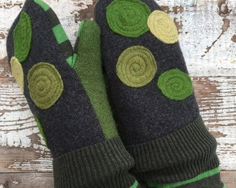 40% OFF- Felted Wool Mittens- Dotty Spotty Crocodile-Green-Women-Teens