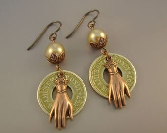 Do I Amuse You  - Vintage Brass Amusement Tokens, Pearls, Copper Victorian Hands Niobium Wires Recycled Repurposed Earrings