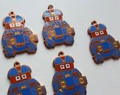 Vintage copper enamel robot charm