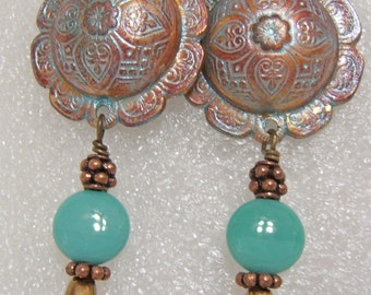 Warm Copper and Turquoise  Boho Dangle Earrings