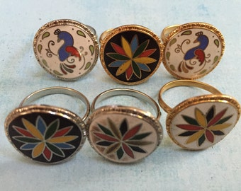 lot of 6 Dutch Pa Hex Luck Bird Flower Star Symbols Signs Jewelry Enamel Charms Metal Crafts Art Mixed Media Adjustable Rings Vintage