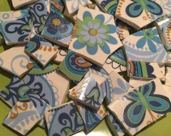 100 pcs Mosaic Tiles Mix Broken Plate Art China Tiles Pottery Blue Green Paisley Butterfly Flower 100