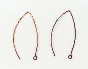 45mm Antique Copper Modern Ear Wire #EFD102