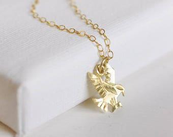 little phoenix (10k gold) // vintage gold bird necklace . tiny bird necklace . gold eagle necklace . solid gold . 10k gold necklace