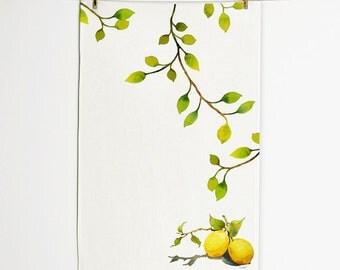 Lemon Tea Towel, Tea Towel 16 x 25, Handmade Tea Towel, Unique Tea Towel, Home decor, Wall décor, Art for kitchen