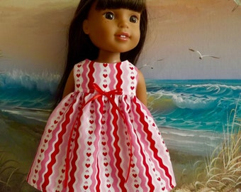 "14  and 14.5"" Doll Dress Valentines Hearts Red White and Pink Wiggly Stripes Fits Dolls Like H4H and Wellie Wishers"