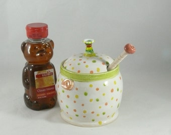 Honey Pot  with matching honey dipper, Kitchen Canister, Ceramic Storage Jar, Lidded Pot, Jam Jar 683