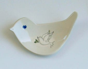 Ring Dish / Jewelry Dish, Hand Built Ceramic Bird Plate