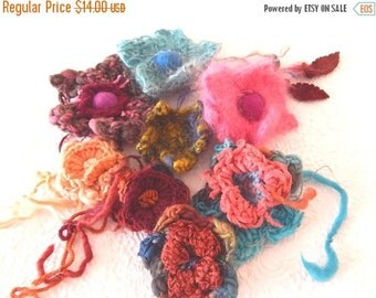 CLEARANCE - 8 wool, mohair, cashmere crochet flowers with suede leaves