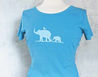 Womens Graphic Tee - Organic Cotton T Shirt - Blue T Shirt - Elephant Family T Shirt Art- Womens Tee Shirt- Organic Cotton Clothing