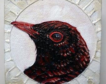 Red Bird ORIGINAL Acrylic Painting Small Art