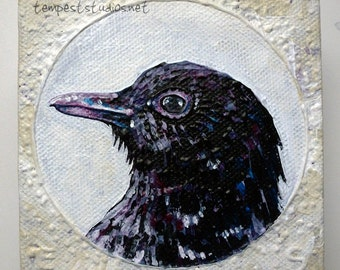 Purple Bird ORIGINAL Acrylic Painting Small Art