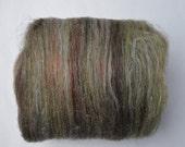 Hand Carded Art Batt - Nature - Carded Wool - Linen - Flax - Copper - Spinning - Felting - Textured Batt - Fiber Art - Browns - Greens - 50g