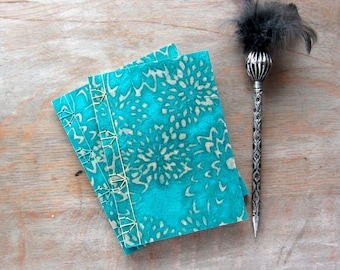 Softcover Journal or Sketchbook, Aqua Batik Mums, unlined pages, Ready to Ship