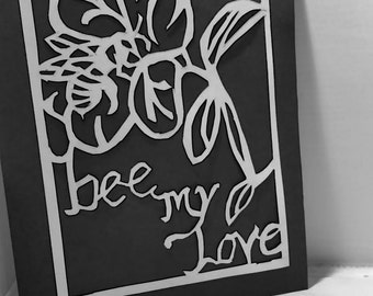 Bee My Love Papercutting Template PDF Download