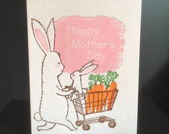 A2-153 Rabbits mother's day letterpress card