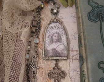 Abiding Faith, soldered pendant, sterling silver, crucifix, rosary necklace, rosary beads, religious, Madonna image, long chain, repurposed