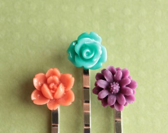 Silver Bobby Pins - Flowers - Coral, Aqua, Purple