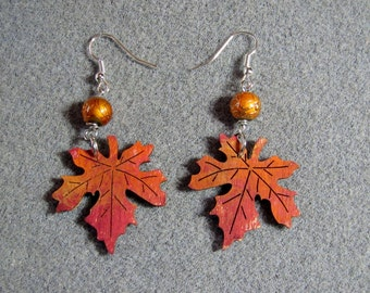 Autumn Leaves Maple Oak Handmade Wooden Dangle Earrings Hypoallergenic 4E