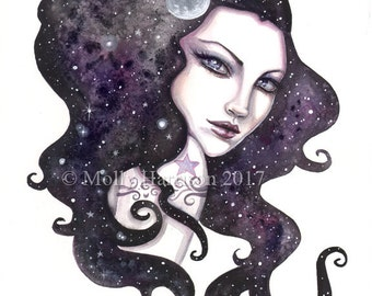 Original Watercolor Painting - Night Skye - Contemporary Celestial Wiccan Fantasy Watercolor Face of Woman - Molly Harrison Fantasy Art