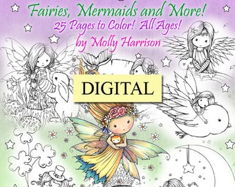 Printable Digital Download - Whimsical Spring Coloring Book by Molly Harrison - Sweet Fairies, Mermaids, Witches