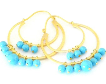 Swarovski Crystal Turquoise Pearl Gold Hoop Earrings