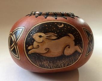 Rabbit bowl Gourd Art Pyrography handmade
