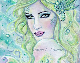 Dreamy Mermaid  underwater magical ocean  print MRMD by Renee L. Lavoie