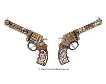Industrial Wild West Mixed Media Revolver Set