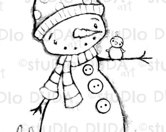 Lovely Time Snowman Digital Stamp - Printable - Art to Color by STUDIODUDAART